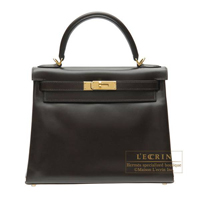 Hermes Kelly bag 28 Retourne Chocolat Box calf leather Gold hardware