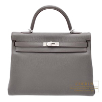 Hermes Kelly bag 35 Retourne Etain Clemence leather Silver hardware