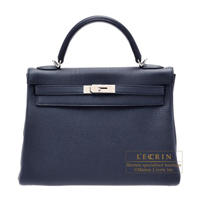 Hermes Kelly bag 32 Retourne Blue obscurs Clemence leather Silver hardware