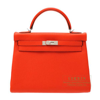 Hermes Kelly bag 32 Retourne Capucine Togo leather Silver hardware