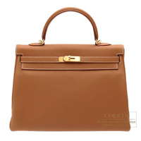 Hermes Kelly bag 35 Retourne Gold Togo leather Gold hardware