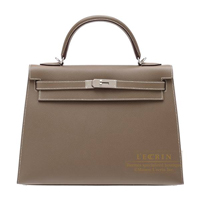 Hermes Kelly bag 32 Sellier Etoupe grey Epsom leather Silver hardware