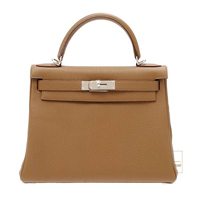 Hermes Kelly bag 28 Retourne Alezan Togo leather Silver hardware