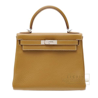 Hermes Kelly bag 28 Retourne Kraft Clemence leather Silver hardware
