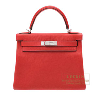 Hermes Kelly bag 28 Retourne Rouge casaque Clemence leather Silver hardware