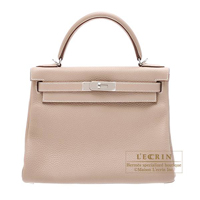 Hermes Kelly bag 28 Retourne Argile Clemence leather Silver hardware