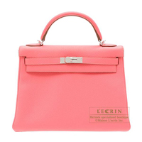 Hermes Kelly bag 32 Retourne Rose lipstick Togo leather Silver hardware
