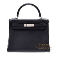Hermes Kelly bag 28 Retourne Black Clemence leather Silver hardware
