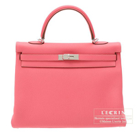 Hermes Kelly bag 35 Retourne Rose lipstick Togo leather Silver hardware