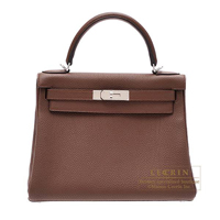 Hermes Kelly bag 28 Retourne Brulee Togo leather Silver hardware
