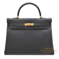 Hermes Kelly bag 35 Retourne Black Togo leather Gold hardware