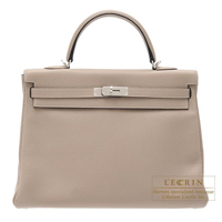 Hermes Kelly bag 35 Retourne Gris tourterelle Clemence leather Silver hardware