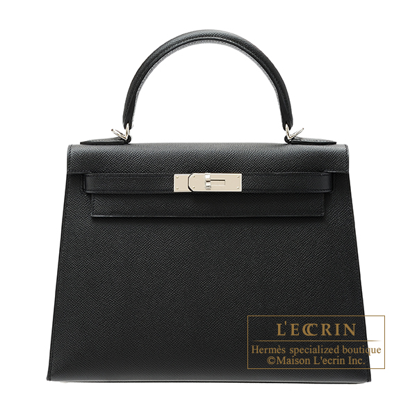 Hermes Kelly bag 28 Sellier Black Epsom leather Silver hardware