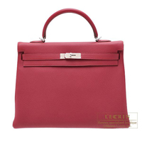 Hermes Kelly bag 35 Retourne Ruby Togo leather Silver hardware