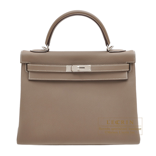 Hermes Kelly bag 32 Retourne Etoupe grey Togo leather Silver hardware