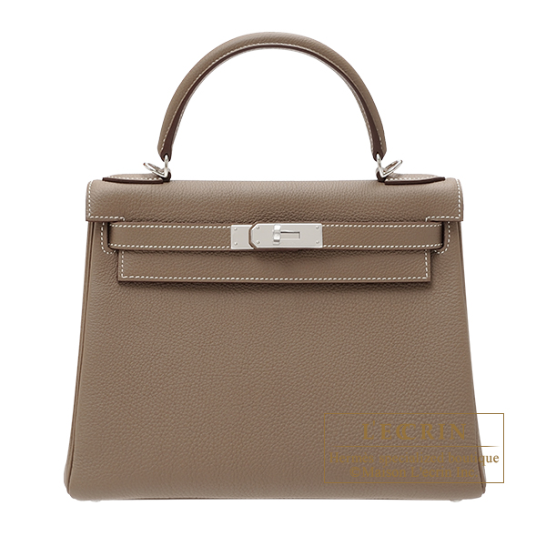 Hermes Kelly bag 28 Retourne Etoupe grey Togo leather Silver hardware