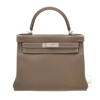 Hermes Kelly bag 28 Retourne Etoupe grey Clemence leather Silver hardware