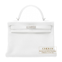Hermes Kelly bag 32 Retourne White Clemence leather Silver hardware