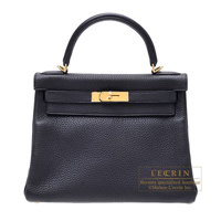 Hermes Kelly bag 28 Retourne Black Clemence leather Gold hardware