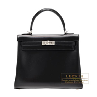 Hermes Kelly bag 25 Retourne Black Box calf leather Silver hardware