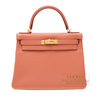 Hermes Kelly bag 28 Retourne Rose tea Clemence leather Gold hardware