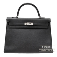 Hermes Kelly bag 35 Retourne Black Togo leather Silver hardware