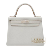 Hermes Kelly bag 28 Retourne Pearl grey Clemence leather Silver hardware