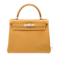 Hermes Kelly bag 28 Retourne Natural sable Togo leather Silver hardware