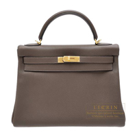 Hermes Kelly bag 32 Retourne Ecorce Togo leather Gold hardware