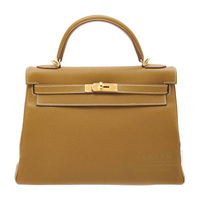 Hermes Kelly bag 32 Retourne Kraft Clemence leather Gold hardware