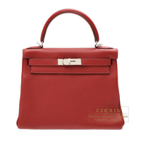 Hermes Kelly bag 28 Retourne Rouge garance Clemence leather Silver hardware
