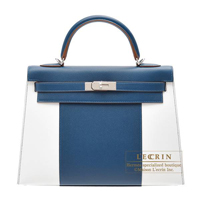 Hermes Kelly Flag bag 32 Sellier Blue thalassa/White Epsom leather Silver hardware