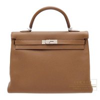 Hermes Kelly bag 35 Retourne Alezan Togo leather Silver hardware