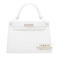 Hermes Kelly bag 28 Sellier White Epsom leather Silver hardware