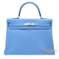 Hermes Kelly bag 35 Retourne Blue paradise Clemence leather Silver hardware