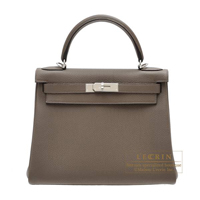 Hermes Kelly bag 28 Retourne Taupe grey Togo leather Silver hardware