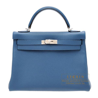 Hermes Kelly bag 32 Retourne Blue thalassa Clemence leather Silver hardware