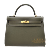 Hermes Kelly bag 32 Retourne Olive green Clemence leather Gold hardware