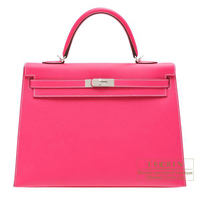 Hermes Kelly bag 35 Sellier Rose tyrien Epsom leather Silver hardware