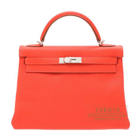 Hermes Kelly bag 32 Retourne Rose jaipur Clemence leather Silver hardware