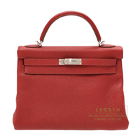 Hermes Kelly bag 32 Retourne Rouge garance Clemence leather Silver hardware