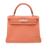 Hermes Kelly bag 28 Retourne Rose tea Clemence leather Silver hardware