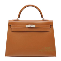 Hermes Kelly bag 32 Sellier Cigare Grain d'H calfskin Silver hardware