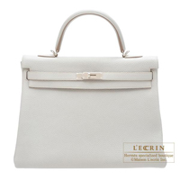 Hermes Kelly bag 35 Retourne Pearl grey Clemence leather Silver hardware
