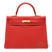 Hermes Kelly bag 35 Retourne Rouge casaque Clemence leather Gold hardware