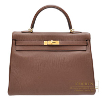Hermes Kelly bag 35 Retourne Brulee Togo leather Gold hardware