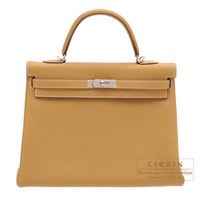 Hermes Kelly bag 35 Retourne Natural sable Togo leather Silver hardware