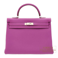 Hermes Kelly bag 35 Retourne Anemone Togo leather Silver hardware