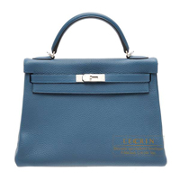 Hermes Kelly Amazon bag 32 Retourne Colvert Clemence leather Silver hardware