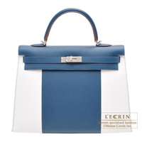 Hermes Kelly Flag bag 35 Sellier Blue thalassa/White Epsom leather Silver hardware